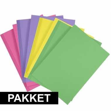X a hobby karton fuchsia roze/geel/groen/paars