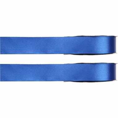X hobby/decoratie blauwe satijnen sierlinten / mm meter