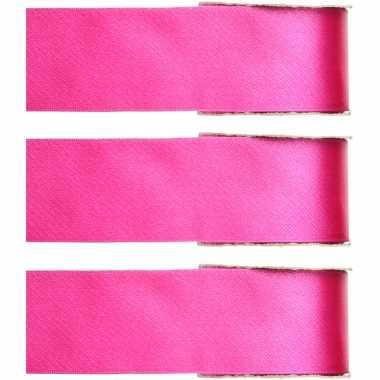 X hobby/decoratie fuchsia roze satijnen sierlinten ,/ mm meter