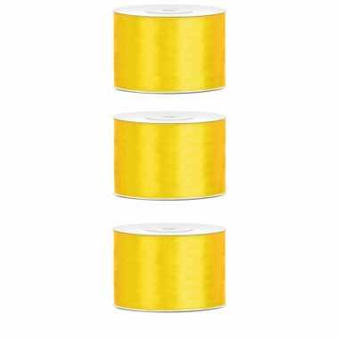X hobby/decoratie geel satijnen sierlinten / mm meter