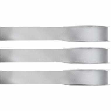 X hobby/decoratie grijze satijnen sierlinten / mm meter