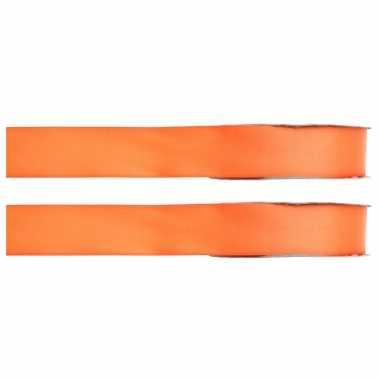 X hobby/decoratie oranje satijnen sierlinten / mm meter