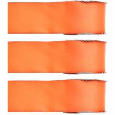 X hobby/decoratie oranje satijnen sierlinten ,/ mm meter