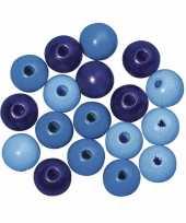 Hobby blauw gekleurde houten kralen mm
