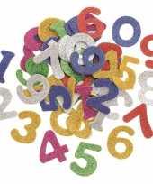 Hobby foam foam rubberen glitter cijfers gekleurd