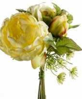 Hobby geel kunstbloemen boeket pioenroos dille