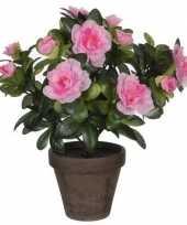 Hobby groene azalea kunstplant roze bloemen pot stan grey