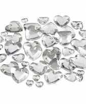 Hobby hartjes strasstenen zilver stuks
