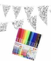Hobby knutsel papieren vlaggenlijn om te kleuren m incl stiften