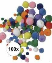 Hobby knutsel pompons gekleurd om te rijgen stuks