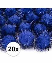 Hobby kobalt blauwe knutsel pompons mm