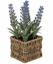 Hobby kunstplant paarse lavendel rieten mandje