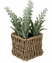 Hobby kunstplant witte lavendel rieten mandje