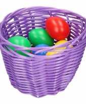 Hobby paars paasmandje gekleurde eieren