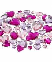 Hobby plak diamantjes paars harten mix