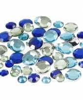 Hobby ronde plak diamantjes blauw mix