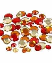 Hobby ronde strass steentjes rood mix stuks