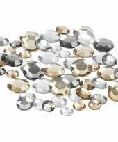 Hobby ronde strass steentjes zilver mix stuks