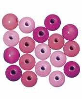 Hobby roze gekleurde houten kralen mm