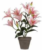 Hobby roze tigerlily tijgerlelie kunstplant grijze pot