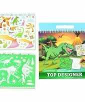 Hobby schetsboek dino stickers sjablonen
