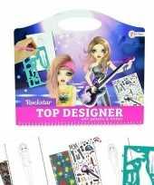 Hobby schetsboek rockster kleding ontwerpen stickers sjablonen