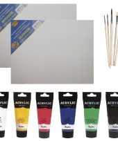 Hobby schilders verf set tubes acrylverf hobbyverf ml doek kwasten 10276419