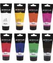 Hobby schilders verf set tubes acrylverf hobbyverf waterbasis ml 10276415