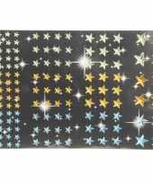 Hobby sterren diamant strass stickertjes groen geel blauw stuk