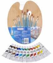 Hobby verfset kinderen acrylverf schilderspalet kwasten