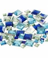 Hobby vierkante plak diamantjes blauw mix