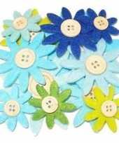 Hobby vilt grijs groen blauw vilten bloemen knoop c