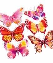 Hobby vlinder stickers set roze oranje d