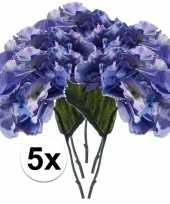 Hobby x blauwe hortensia kunstbloemen tak 10110104