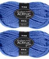 Hobby x bolletjes blauw maxi acryl wol garen meter 10267124