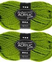 Hobby x bolletjes groene maxi acryl wol garen meter 10267127