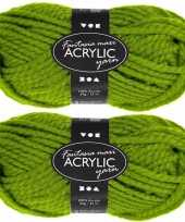 Hobby x bolletjes groene maxi acryl wol garen meter 10267128