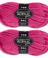 Hobby x bolletjes roze maxi acryl wol garen meter 10267122