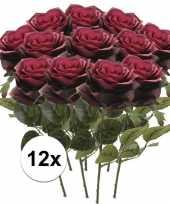 Hobby x donker rode rozen simone kunstbloemen 10107244