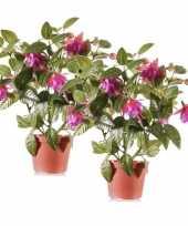 Hobby x fuchsia kunstplanten donkerroze bloemen pot