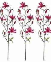 Hobby x fuchsia roze magnolia beverboom kunsttak kunstplant 10159846