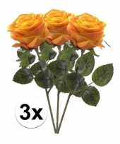 Hobby x geel oranje rozen simone kunstbloemen 10107272