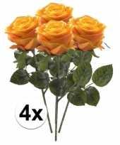 Hobby x geel oranje rozen simone kunstbloemen 10107273