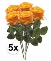 Hobby x geel oranje rozen simone kunstbloemen 10107274
