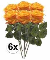Hobby x geel oranje rozen simone kunstbloemen 10107275