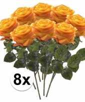 Hobby x geel oranje rozen simone kunstbloemen 10107276