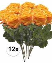 Hobby x geel oranje rozen simone kunstbloemen 10107279
