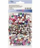 Hobby x gekleurde plak strass steentjes rond vierkant bloem