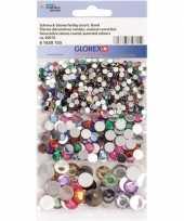 Hobby x gekleurde ronde plak strass steentjes