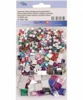 Hobby x gekleurde vierkante plak strass steentjes